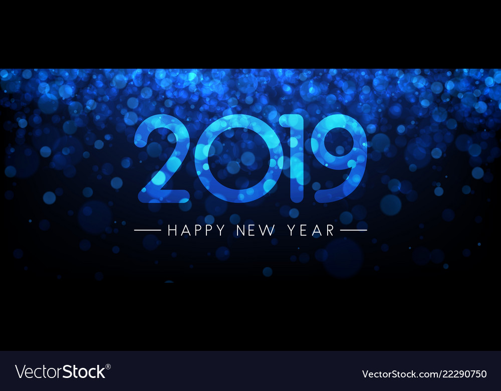 Blue shiny 2019 Happy New Year banner. Vector background.